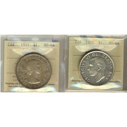 1 Dollar 1951 Arnprior and 1957, both ICCS MS-64. Lot of 2 lightly toned coins.