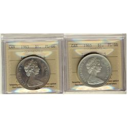 1 Dollar 1965 Large Beads Pointed 5, 1965 Large Beads Blunt 5, both ICCS PL-66. Lot of 2 coins.