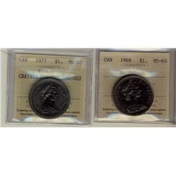 1 Dollar 1968 No Island and 1977 Obverse 2, Reverse 2, both ICCS MS-65. Lot of 2 coins.