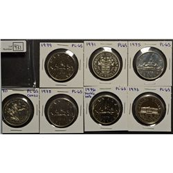 1 Dollar 1970 Cameo, 1971, 1973, 1975, 1976 Double Date, 1978 & 1979 all UNC-65 from Uncirculated Se