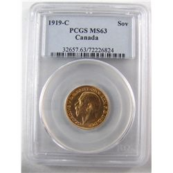 Gold Sovereign 1919c, PCGS MS-63.