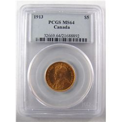 5 Dollars Gold 1913, PCGS MS-64. Near Gem with very strong lustre.