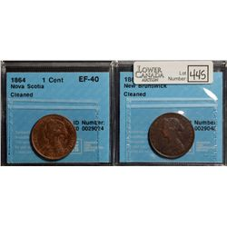 New Brunswick; Cent 1861, CCCS VF-30; Cleaned. Nova Scotia; Cent 1864, CCCS EF-40; Cleaned. Lot of 2
