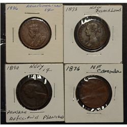 Newfoundland Cent 1873, 1876H 1890 & 1936 all F to VF. Lot of 4 coins.