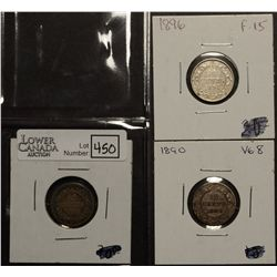 Newfoundland 10 Cents 1872H G-6, 1890 VG-8 & 1896 F-15. Lot of 3 coins.