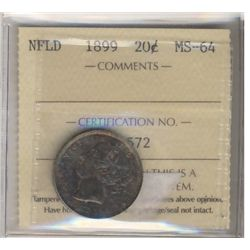 Newfoundland 20 Cents 1899, ICCS MS-64. Attractive toning, rare this nice.