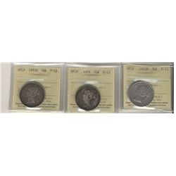 Newfoundland 50 Cents 1872H, 1874 and 1882H, all ICCS F-12. Lot of 3 coins.