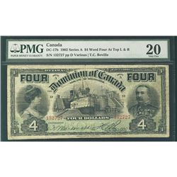 1902 Dominion of Canada; 4 Dollars, PMG VF-20 Charlton DC-17b, 132727. Tough to find in this conditi