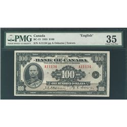 1935 Bank of Canada; 100 Dollars, PMG VF-35 Charlton BC-15, A11134, Bright and very attractive note.