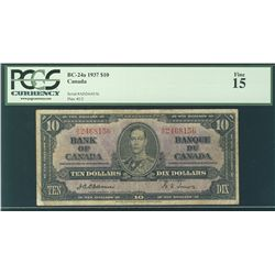 1937 Bank of Canada; 10 Dollars, PCGS F-15 Charlton BC-24a, A/D2468156.