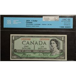 1954 Bank of Canada; 1 Dollar, CCCS UNC-66 Charlton  BC-29a Devil's Face Changeover H/A0535886.
