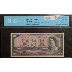 1954 Bank of Canada; 10 Dollars, CCCS VF-20 Charlton BC-32a, Devil's Face C/D7392015.