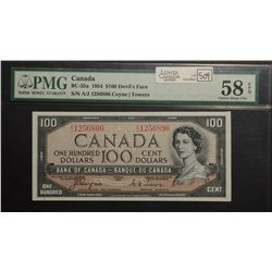 1954 Bank of Canada; 100 Dollars, PMG AU-58 EPQ Carlton BC-35a, Devil's Face A/J1256896 well graded.