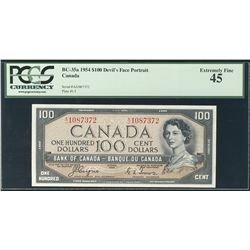 1954 Bank of Canada; 100 Dollars, PCGS EF-45 Charlton BC-35a, Devil's Face A/J1087372.