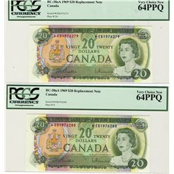 1969 Bank of Canada; 20 Dollars, PCGS UNC-64; PPQ Charlton BC-50aA, *EB1976279-280. Lot of 2 replace