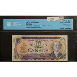 1971 Bank of Canada; 10 Dollars, CCCS AU-50 Charlton BC-49aA, Replacement Repeater *DA2549254.