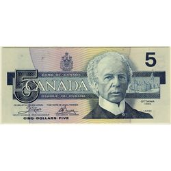1986 Bank of Canada; 5 Dollars, PCGS UNC-66 PPQ Charlton BC-56aA, ENX1281997 Yellow BPN Replacement.