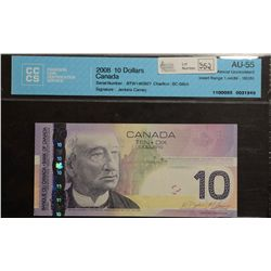 2008 Bank of Canada; 10 Dollars, CCCS AU-55 Charlton BC-68bA, BTW1463927 Replacement.