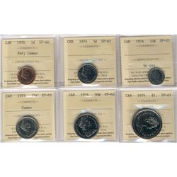 1974 Specimen Set; Cent is SP-66; Red and all other coins are SP-65, all 6 coins ICCS graded. Seldom