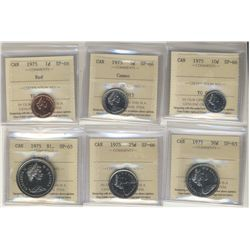 1975 Specimen Set; Cent to 25 Cents all SP-66, 50 Cents and Dollar SP-65, all 6 coins ICCS graded. S