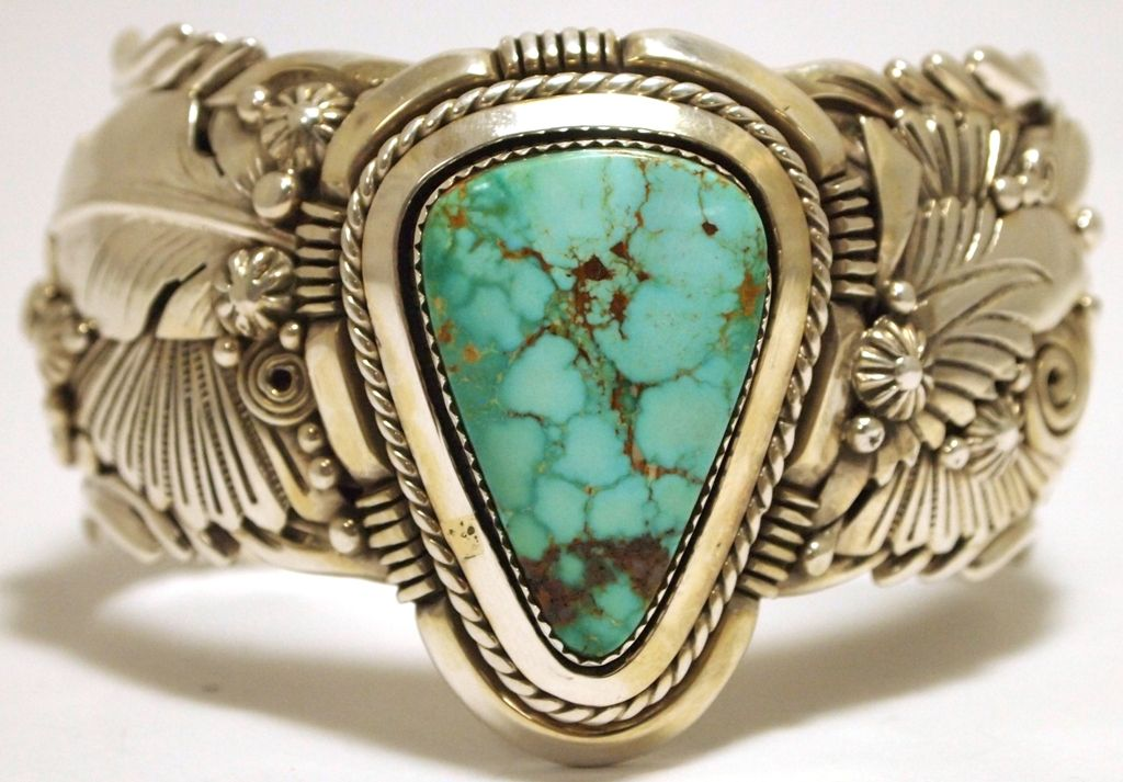 Old Navajo Mountain Turquoise Sterling Silver Cuff Bracelet Ben Bee Loading Zoom