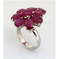Beautiful 34.13CTW Flower Pink Ruby Silver Ring