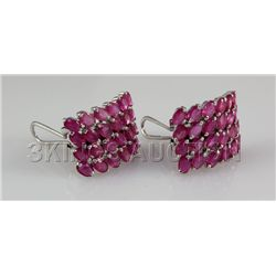 47.81CTW Pink Ruby Cluster Design Silver Earring