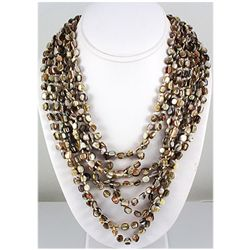 959.00ctw Mother of Pearl Beads 8Rows Necklace, 12inch