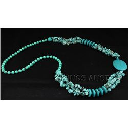450.97CTW CHUNKY TURQUOISE BEADED FASHION NECKLACE