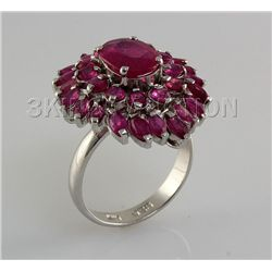 34.73CTW Pretty Pink Ruby Stone in Silver Ring