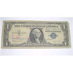 1957 B SERIES $1 SILVER CERTIFICATE BILL SERIAL # R67124412A *PLEASE LOOK AT PIC TO DETERMINE GRADE*