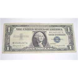1957 B SERIES $1 SILVER CERTIFICATE BILL SERIAL # W63491267A *PLEASE LOOK AT PIC TO DETERMINE GRADE*