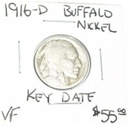1916-D BUFFALO NICKEL RED BOOK VALUE IS $55.00 *EXTREMELY RARE KEY DATE VERY FINE GRADE*!!