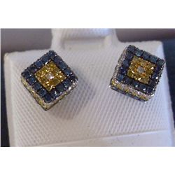 ALL DIAMOND EARRINGS-YELLOW,WHITE BLUE AND BLACK,14K GOLD