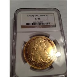 1793 GOLD SPANISH COLUMBIA 8 ESCUDO COI(DOUBLOON), NGC XF-45