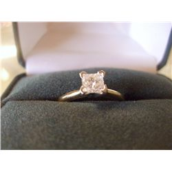 .50 CARAT SOLITAIRE PRINCESS CUT DIAMOND  RING, 14K GOLD