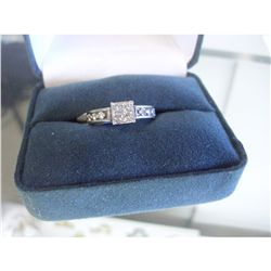 .50 CARAT 4 PRINCESS CUT DIAMONDS PLUS 6 IN BAND ROUND DIAMONDS LADIES  RING, 14K GOLD