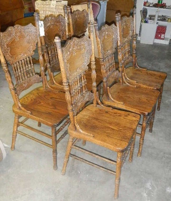 Pressed Back Dining Chairs ~ Oak press back chairs