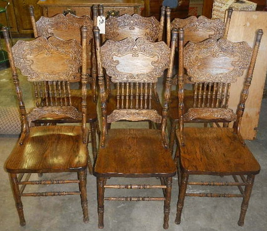 Pressed Back Dining Chairs ~ Antique press back chairs furniture