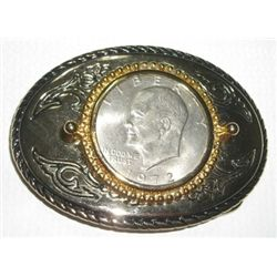 "1972-D EISENHOWER ""IKE"" DOLLAR BELT BUCKLE STAMPED *MADE IN U.S.A.*!!"