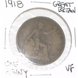 1918 GREAT BRITAIN ONE PENNY *RARE VERY FINE GRADE*!!