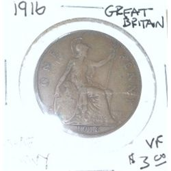 1916 GREAT BRITAIN ONE PENNY WORLD COIN BOOK VALUE IS $3.00 *RARE VERY FINE GRADE*!!