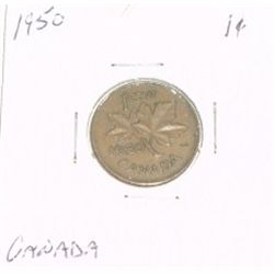 1950 CANADIAN 1 CENT PENNY *PLEASE LOOK AT PICTIRE TO DETERMINE GRADE*!!