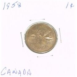 1958 CANADIAN 1 CENT PENNY *PLEASE LOOK AT PICTIRE TO DETERMINE GRADE*!!