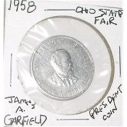 1958 *OHIO STATE FAIR* PRESIDENT JAMES A. GARFIELD COIN *RARE NICE COIN*!!