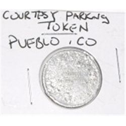 PUEBLO, COLORADO VINTAGE COURTESY PARKING TOKEN *RARE HARD TO FIND TOKEN*!!