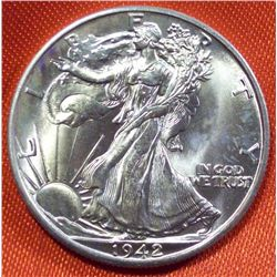1942-D Walking Liberty Half Dollar BU Silver