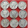 9 - Circulated Silver Mercury Dimes