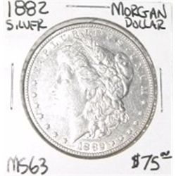 1882 MORGAN SILVER DOLLAR RED BOOK VALUE IS $75.00 *RARE MS-63 HIGH GRADE* !!