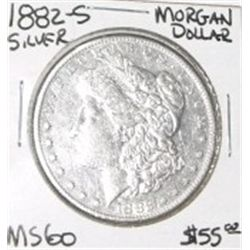 1882-S MORGAN SILVER DOLLAR RED BOOK VALUE IS $55.00 *RARE MS-60 HIGH GRADE*!!